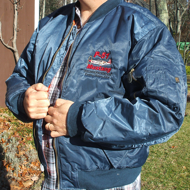 Flight Jacket (blue with P-51 logo) - The Collings Foundation