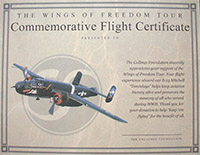 Commemorative Flight Certificates